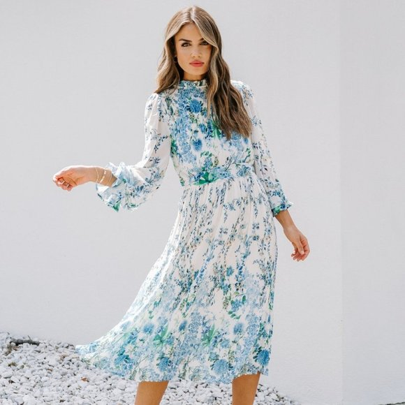 VICI tempe blue floral ruffle midi dress